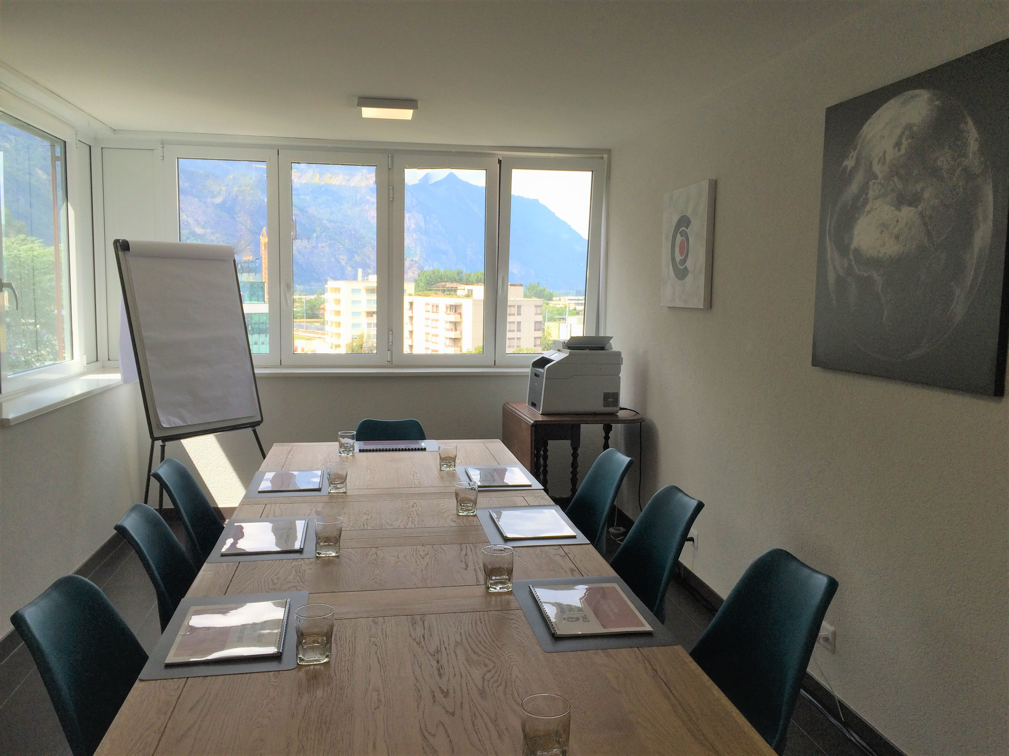 Training room for courses in Switzerland - window view